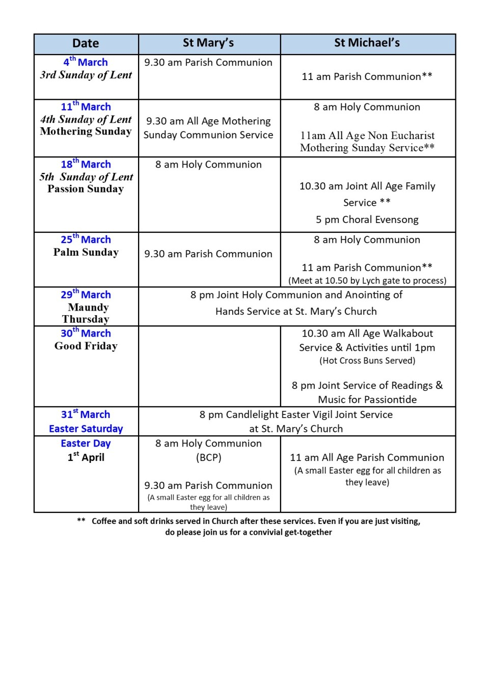 March Services